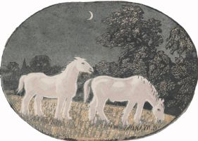 wood-engraving original print: Horses at Night
